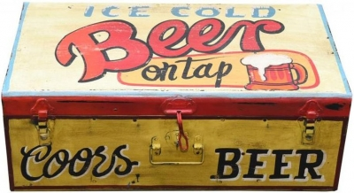 Hand Painted Vintage Beer Iron Trunk