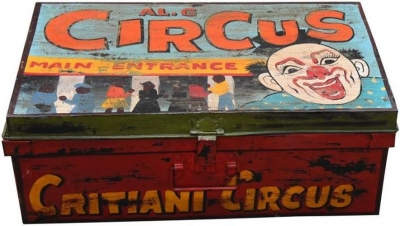 Hand Painted Vintage Carnival Iron Trunk
