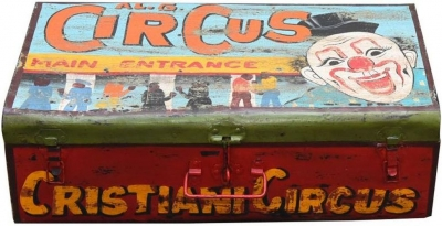 Hand Painted Vintage Circus Iron Trunk