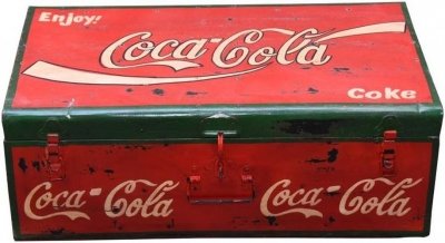 Hand Painted Vintage Coco Cola Iron Trunk