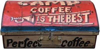 Hand Painted Vintage Coffee Iron Trunk