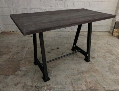 Industrial Cast Iron and Wood Large Bar Table
