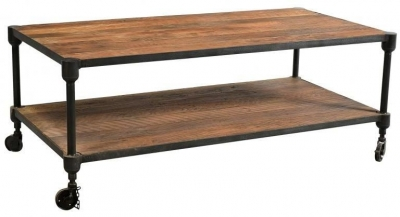 Industrial Forged Steel and Wood Coffee Table