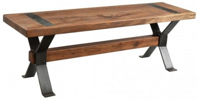 Industrial Forged Steel and Wood Dining Bench with Cross Legs