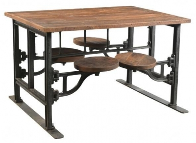 Industrial Forged Steel and Wood Dining Table with 4 Adjustable Swivel Seating