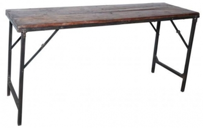Industrial Forged Steel and Wood Folding Bar Table