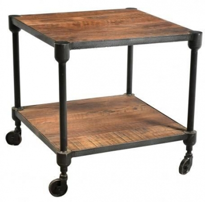 Industrial Forged Steel and Wood Side Table