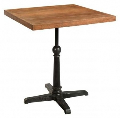 Industrial Forged Steel and Wood Square Cafe Pedestal Table