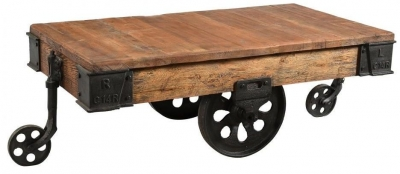 Industrial Forged Steel and Wood Trolley Coffee Table