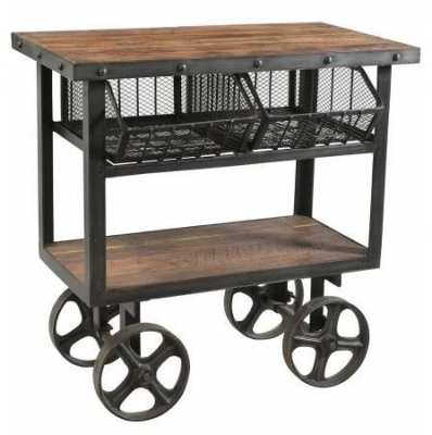 Industrial Forged Steel and Wood Trolley With 2 Metal Baskets