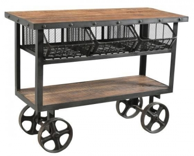 Industrial Forged Steel and Wood Trolley With 3 Metal Baskets