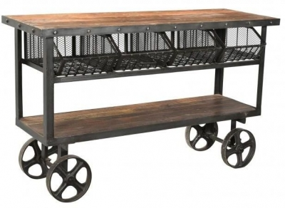 Industrial Forged Steel and Wood Trolley With 4 Metal Baskets