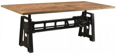 Industrial Forged Steel and Wood Dining Table with Adjustable Height - 200cm