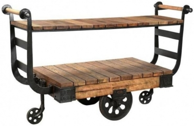 Industrial Forged Steel and Wood Display Trolley with Wheels