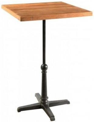 Industrial Forged Steel and Wood Square Bar Table