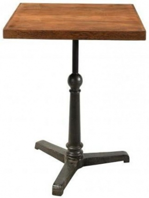 Industrial Forged Steel and Wood Square Cafe Pedestal Table - 60cm