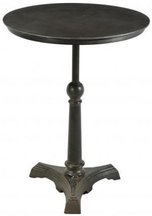 Industrial Forged Steel and Wood Round Cafe Pedestal Table - 60cm