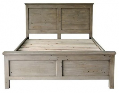 Limewash Recycled Pine 4ft 6in Double Bed