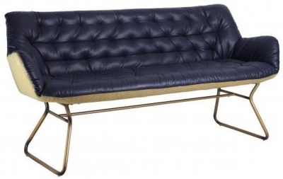 Modern Vintage Blue Faux Leather Studded Sofa with Golden Legs
