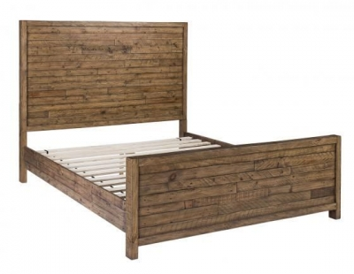 Rustic Reclaimed Pine Industrial Bed
