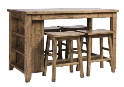 Rustic Reclaimed Pine Industrial Counter Table with 4 Stool
