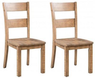 Rustic Reclaimed Pine Industrial Dining Chair with Timber Seat (Pair)