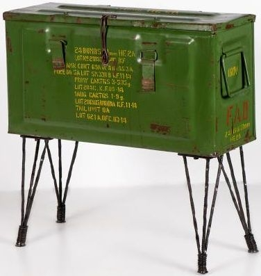 Upcycled Metal Vintage Storage Trunk with Hairpin Legs
