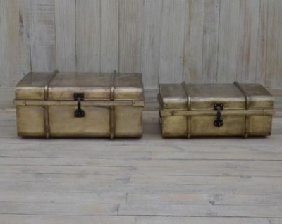 Upcycled Retro Vintage Set of 2 Gold Colored Trunks