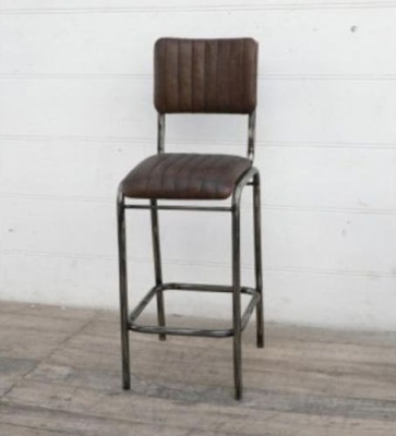Upcycled Retro Vintage Brown Leather Bar Stool with Backrest
