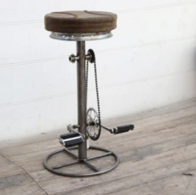 Upcycled Retro Vintage Brown Leather Padded Bicycle Stool