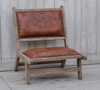 Upcycled Retro Vintage Brushed Buffalo Leather and Wood Occasional Chair