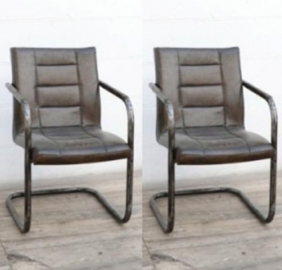 Upcycled Retro Vintage Ribbed Brushed Buffalo Leather Dining Chair with Frame (Pair)