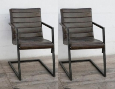 Upcycled Retro Vintage Ribbed Brushed Buffalo Leather Dining Chair with Frame