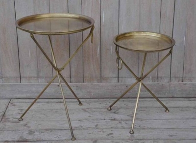 Upcycled Retro Vintage Set of 2 Gold Round Tray Tables
