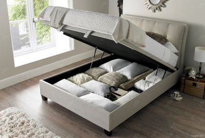 Accent Ottoman Fabric Storage Bed - Oatmeal