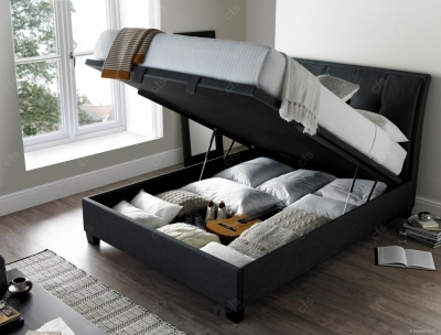 Accent Ottoman Fabric Storage Bed - Slate