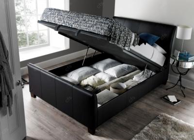 Allendale Ottoman Leather Storage Bed - Black