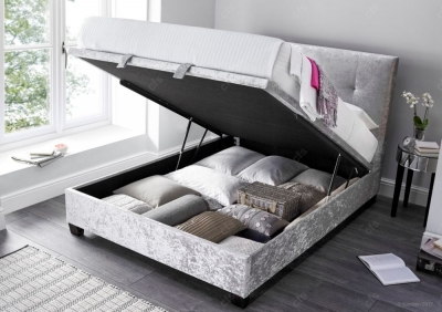 Walkworth Ottoman Velvet Storage Bed - Silver Crushed
