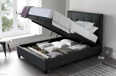 Walkworth Ottoman Fabric Storage Bed - Slate