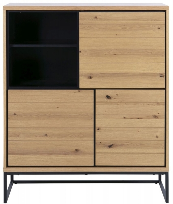 Dolton Cabinet - Brushed Wild Oak and Metal