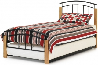 Dione Metal Guest Bed - Beech and Black