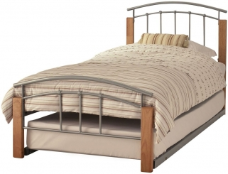 Dione Metal Guest Bed - Beech and Silver