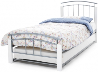 Dione Metal Guest Bed - White and Silver