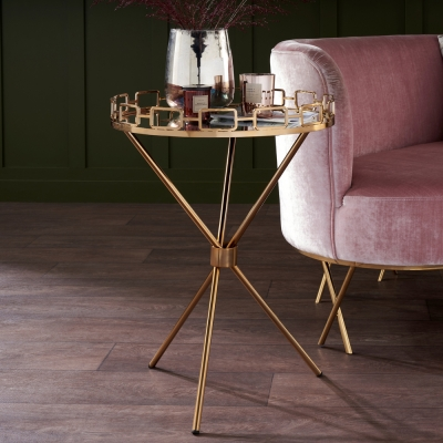 Hamar Mirrored Glass and Antique Gold Round Tray Table