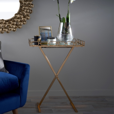 Horten Mirrored Glass and Antique Gold Tray Table with Foldable Stand