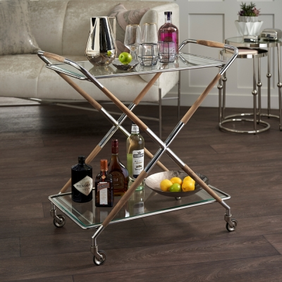 Tracy Clear Tempered Glass and Nickel Trolley with Teak Wood