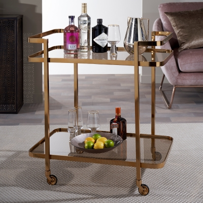 Howe Black Smoked Glass and Antique Gold Trolley