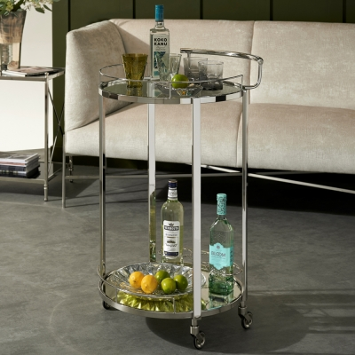 Keeley Clear Tempered Glass and Nickel Trolley with 3 Bottle Holder