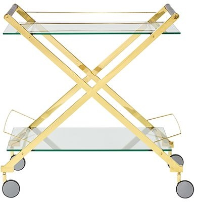 Angelillo Glass and Gold Drinks Trolley