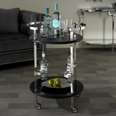 Kaden Black Marble and Nickel Trolley with 4 Bottle Holder